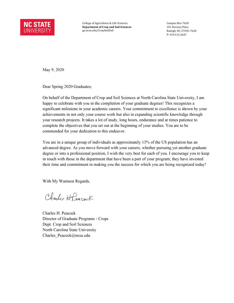 letter to Crop and Soil Sciences' graduating students