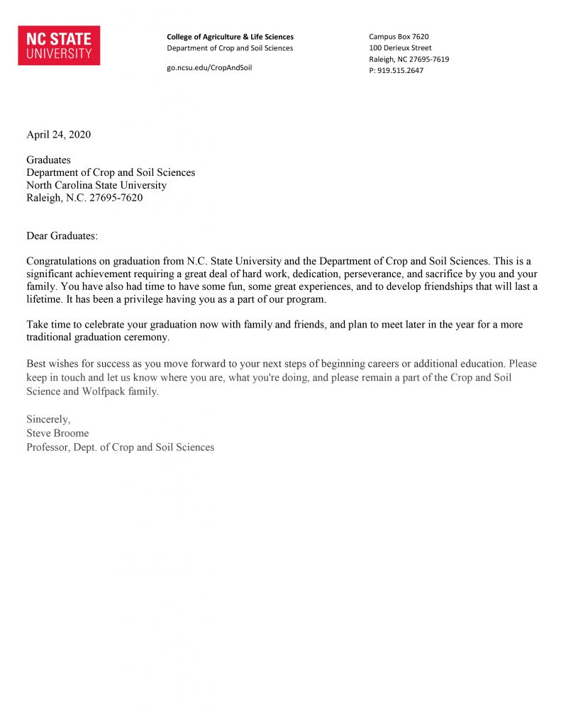 Letter to NC State graduates